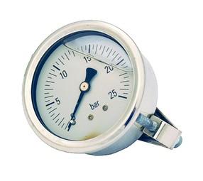 """Manometr glycerinový zadní připojení s držákem MP 63-1/4"""" (0 - 25 bar)"""