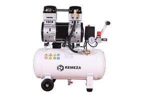Tichý dvoupístový bezolejový kompresor Remeza, 250 l/min, vzdušník 50 l, 230 V